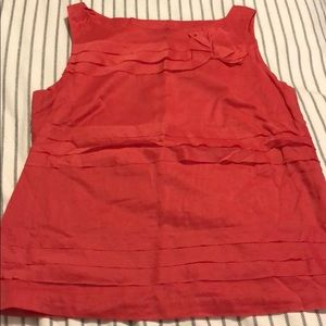 Talbots soft red size 8 cotton tank top side zip